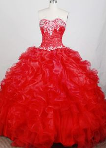 Red Sweetheart Appliques Ruffles Organza Floor-length Dress for Quince