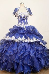 Appliques Sweetheart Ruffled Blue Organza Jacket Sweet Sixteen Dresses
