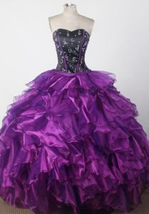 Black and Purple Beaded Sweetheart Ruffles Ball Gown Sweet 16 Dresses
