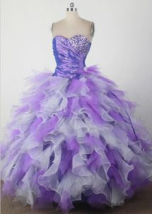 Sweet Sixteen Quinceanera Dress with Ruffles and Beaded Sweetheart
