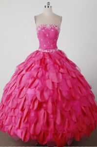 Layers Beading Strapless Hot Pink Adelboden Switzerland Quinces Dress