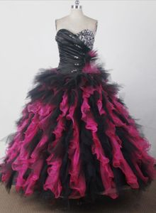 Multi-color Sweetheart Beading Ruched Ruffled Quinceaneras Dresses