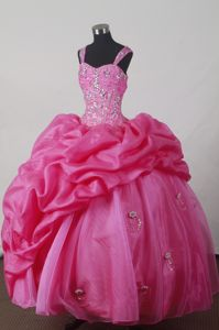 Hot Pink Straps Beading Pick-ups Elgg Switzerland Quincenera Dresses