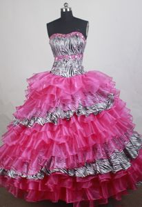 Wonderful Ball gown Strapless Sweet Sixteen Dresses in Anniston with Zebra Style