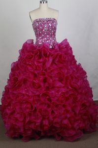 The Super Hot Fuchsia Strapless Ruffled and Beads Dress for Quince in Arlington