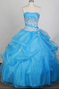 Light Blue Beads and Appliques Style Strapless Dress For Quinceanera in Ashville