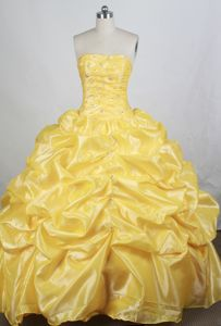 Brand New Yellow Strapless with Pink-ups Accent Quinceanera Dresses in Atmore