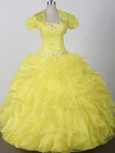Yellow Beadings and Ruffled Layers Sweetheart Dress For Quinceanera in Buhl