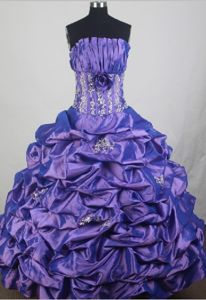 Ball Gown Strapless Beads and Pick-ups Accent for Sweet 15 Dresses in Chelsea