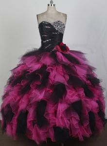 Exquisite Sweetheart Neck Ruffled Dress For Quinceanera in Clay with Beadings