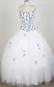 Spaghetti Straps Appliqued White Quinceanera Gown Dress on Promotion