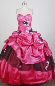 Chile Amazing Hot Pink Quinceanera Gown Dress with Appliques and Flowers
