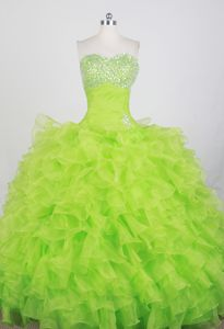 Stylish Ruffle Beaded Spring Green Ball Gown Quince Dresses Stores