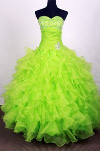 Famous Spring Green Ruffled Beaded Quinceanera Gown for Wholesale