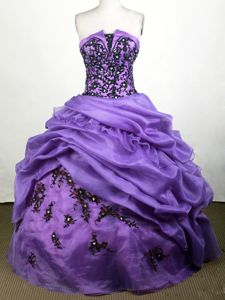 Memorable Appliqued Purple Floor-length Quinces Dress with Pick-ups