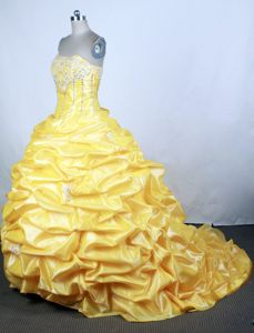 Pretty Brush Train Beaded Yellow Dress for Quince with Pick-ups on Sale
