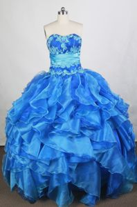 Exquisite Appliqued Ruffled Baby Blue Quinceanera Gown Dress Shop