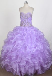 2013 Newest Ruffled Beaded Lilac Sweet 15 Dress in The Mainstream