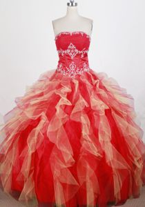 Wanted Appliqued Ruffled Red Ball Gown Dress for Quince Fast Shipping