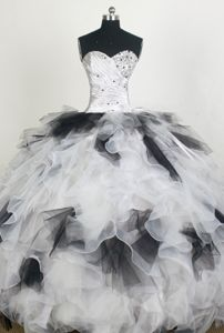 White and Black Ruffled Beaded Ball Gown Quinceaneras Dress for Wholesale