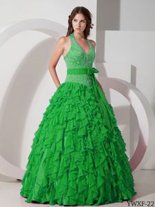 Green Halter Top Ruffles and Embroidery Sweet 15 Dresses with Bowknot