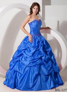 Beaded and Pick Ups Decorated Blue Quinceaneras Dress Near Sister Bay