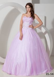 Trendy Lilac Sweetheart Quinceanera Gown Dresses with Sequined Bodice