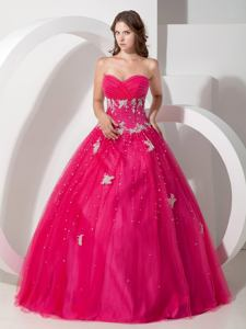 Appliques and Paillettes Decorated Coral Red Quinceanera Gown in Shawano