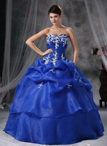 Embroidery and Pick Ups Quinceaneras Dress in Blue near Laramie WY