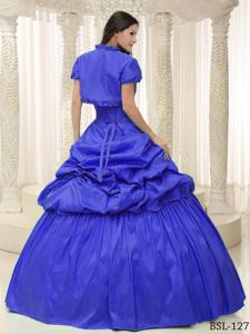 Ruching and Pick Ups Blue Puffy Quinces Dresses in Dubois WY for Ladies
