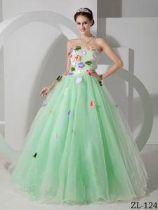 Apple Green Quinceanera Dresses with Floral Embellishment in Douglas WY