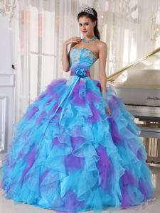 Flowers Appliques and Ruffles Multi-color Dress for Quince near Casper WY