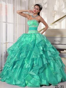 Turquoise Ruffles and Appliques Decorated Sweet 16 Quinceanera Dresses