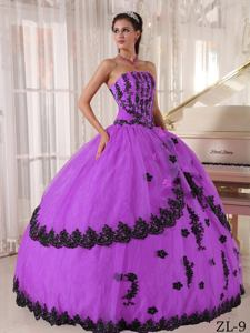 Sassy Purple Sweet Sixteen Dresses with Appliqued Bodice and Lace Hemline