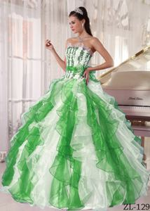 Flowers Appliqued and Ruffled Multi-color Quinceaneras Dress near Philippi