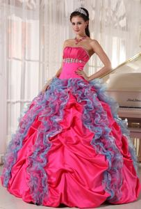 Multi-color Quinceanera Gown with Ruffles and Jewelry in New Martinsville