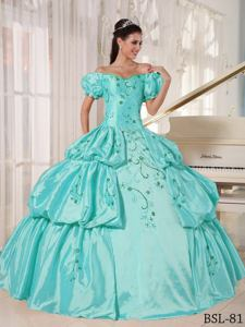 Off The Shoulder Short Sleeves Embroidery and Pick Ups Quinceanera Gowns