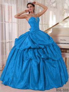 Diamonds Ruche and Pick Ups Blue Quinceanera Gown near Hedgesville