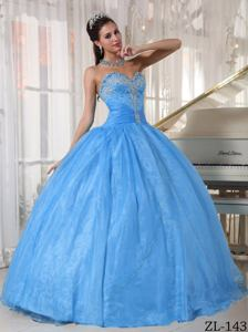 Baby Blue Beading and Ruching Decorated Quinceanera Dresses near Daniels