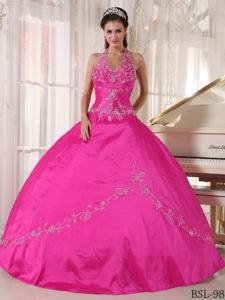 Hot Pink Halter Top Quinces Dresses with Beaded Embroidery near Alderson