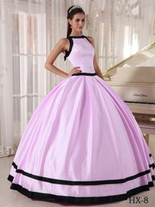 Simple Bateau Puffy Baby Pink Quinceanera Dresses Decorated with Bowknot