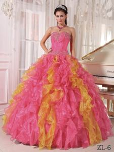 Multi-color Beaded and Ruffled Dress For Quinceanera near Williamstown