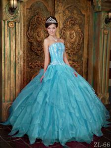 Aqua Blue Strapless Appliques and Ruffled Layers Sweet Sixteen Dresses