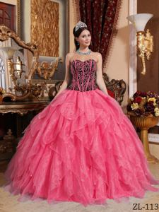 Coral Red Ruffled Layers Sweet 16 Dresses with Beaded Bodice in Illsboro