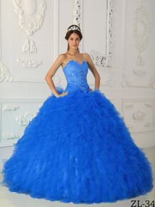 Blue Puffy Beaded Quinceaneras Dress with Small Ruffles near Harrisville