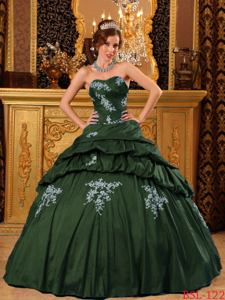 Pick and Appliques Dark Green Quinceanera Gown Dresses in West Union