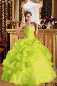 Cheap Yellow Green Ruche Sweet 16 Dress with Pick Ups and Embroidery