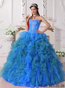 Embroidery and Ruffles Decorated Blue Puffy Quinceanera Gown in Athens