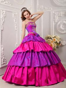 Multi-color Appliques and Bowknot Layers Dress For Quinceanera in Beloit