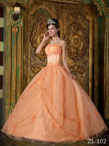 Beautiful Appliques Orange Dresses For Quinceanera near Beaver Dam WI